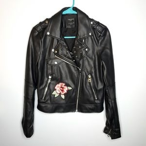 NWOT Zara S Faux Leather Embroidered Biker Jacket